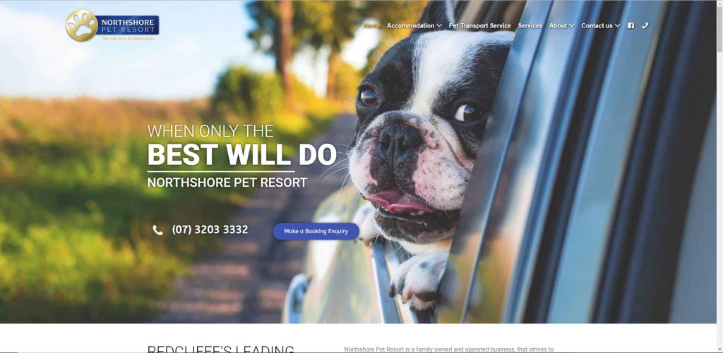 northshore pet resort full width website design