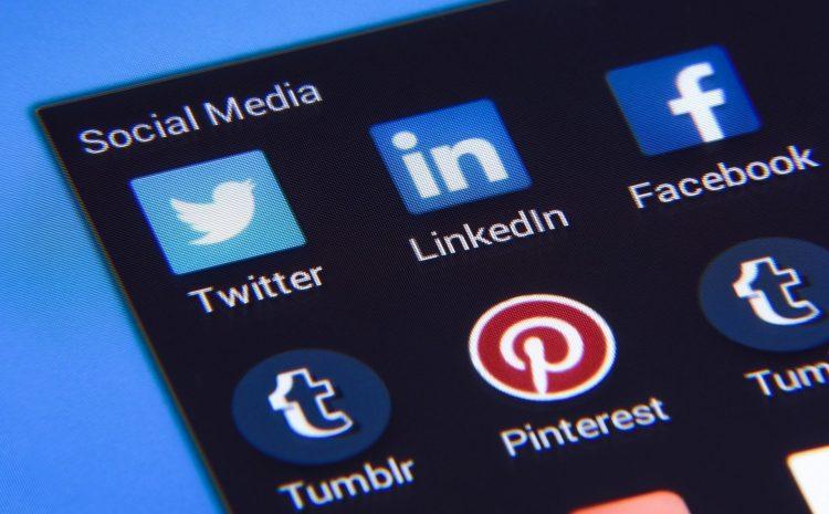 social media icons on tablet